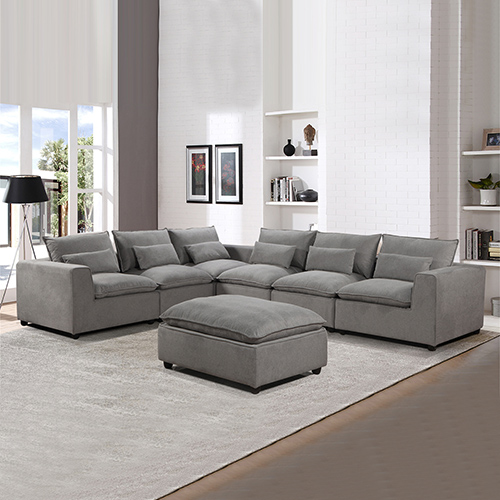 Cloud 6 Seater Grey Sofa with Ottoman