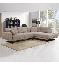 3 Seater Chaise Lounge Beige Wooden Frame Sofa Gloria