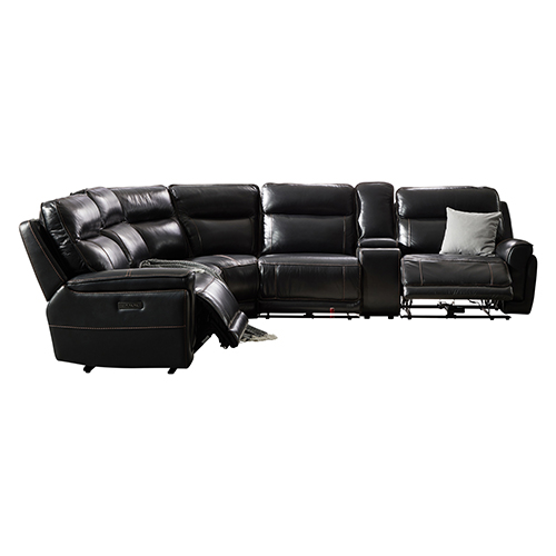6 Seater Corner Sofa Finest Leatherette Black Armless Recliners Straight Console Lawson