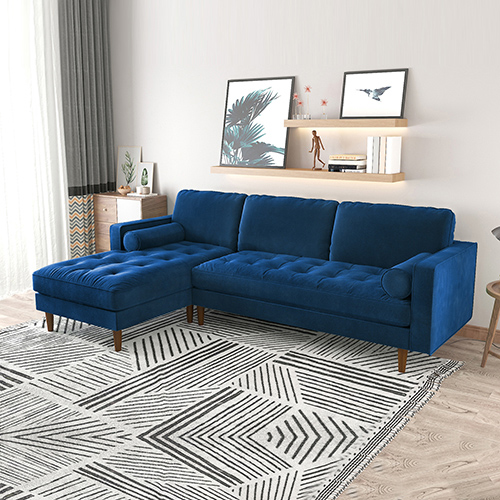 Navy Blue Side Pillows Oblique Legs Zara Chaise Sofa