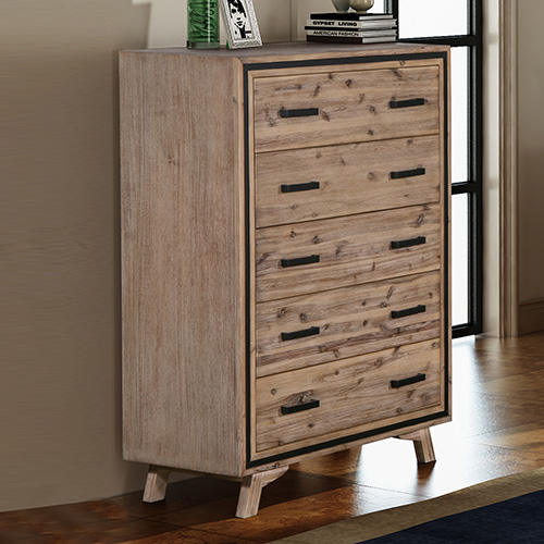 Seashore Silver Brush 5 Drawers Tallboy
