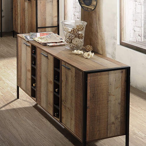 Wine Cabinet With 2 Storage And Open Selves Bar Cabinet In Oak Colour